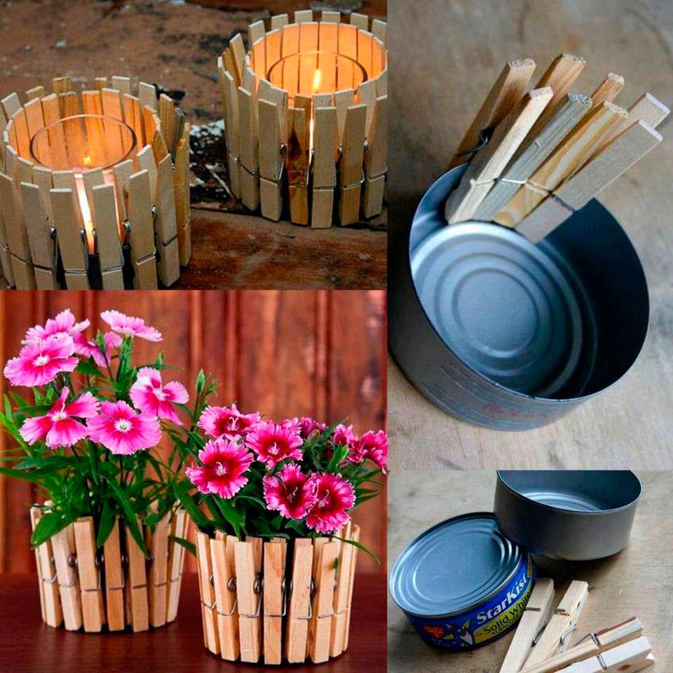 jarrones con pinzas decoraci n con madera