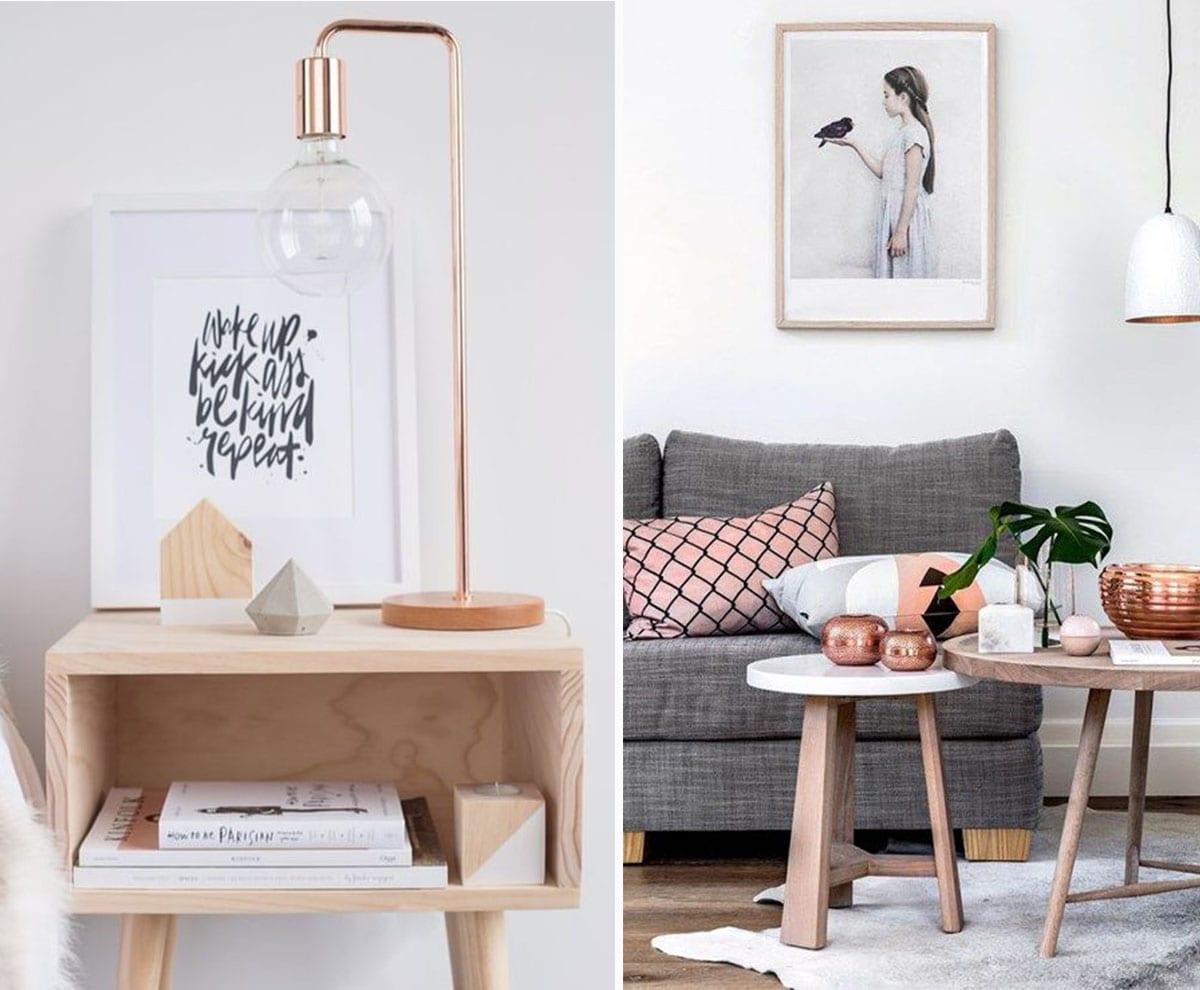decoracion cobre y madera